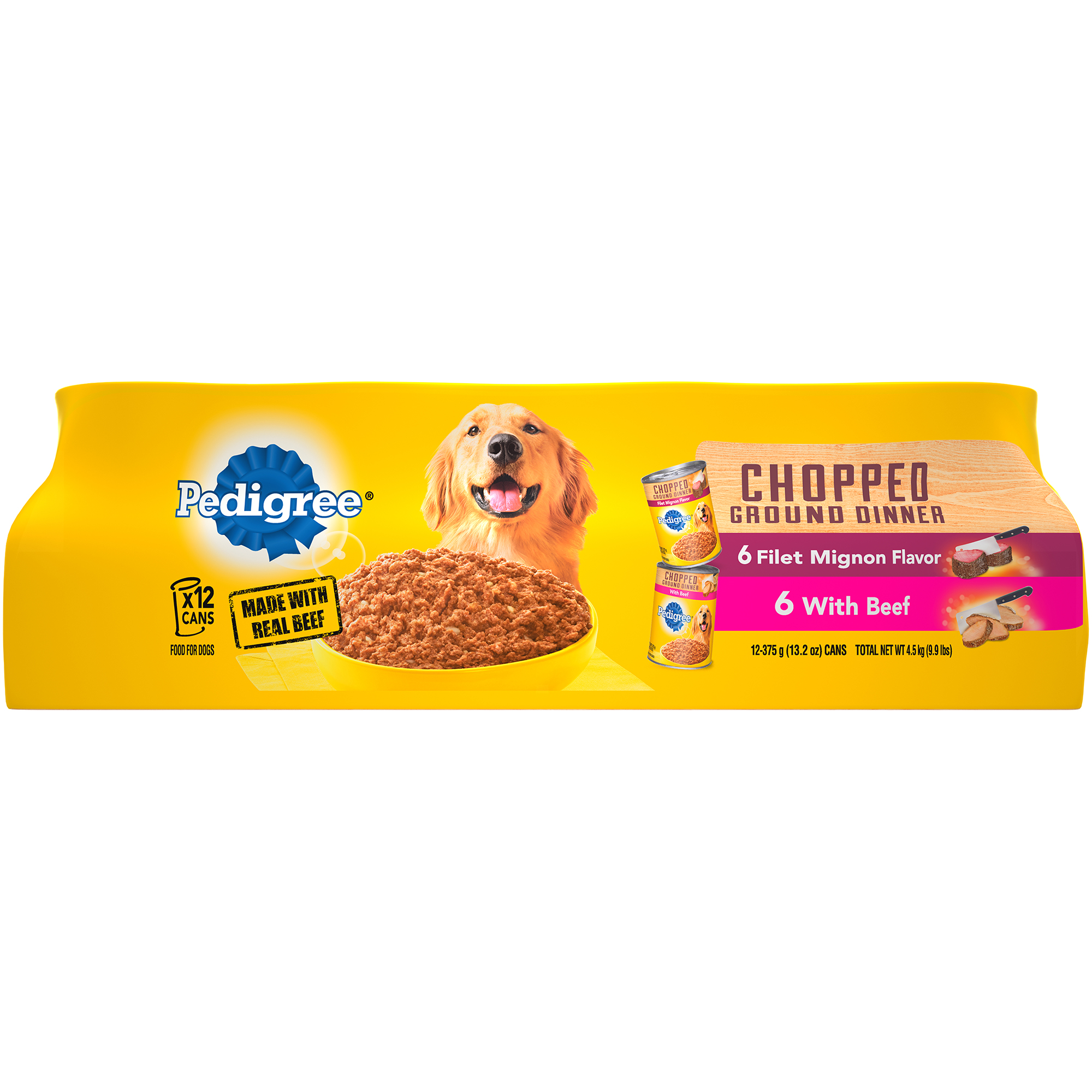 PEDIGREE Chopped Ground Dinner Multipack Filet Mignon & Beef Dog Food 13.2 Ounces (12 Count)
