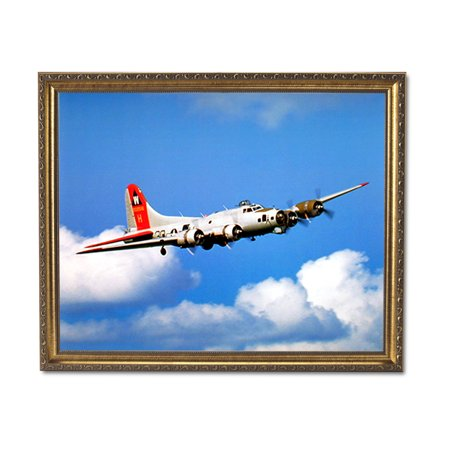 Gold Airplane (B-17 Jet Airplane Room Wall Picture Gold Framed Art Print)