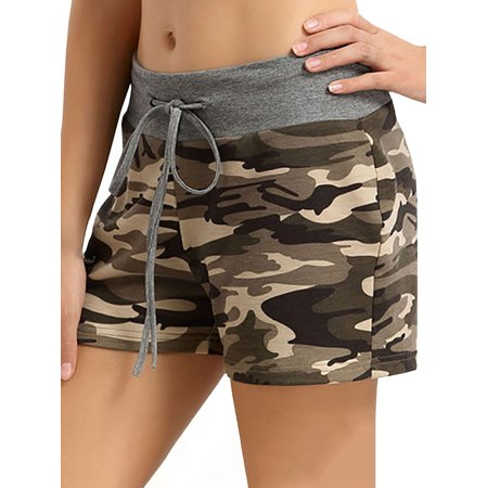Fancyleo Casual Women Summer Short Pants High Waist Camouflage Printed Pants