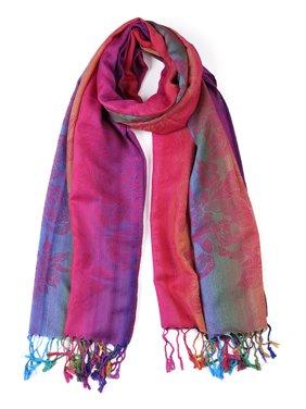 Large Tassel Wrap Multi-Color Floral Gradient Color Scarf for Women