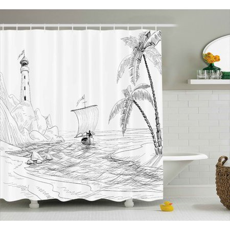 Highland Dunes Bryner Beach Seascape Sketch With Boat Palm Tree And Lighthouse Coastal Hand Drawn Artwork Single Shower Curtain