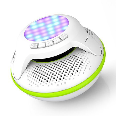 COWIN IPX7 Floating Waterproof Bluetooth Wireless Speaker Portable Wireless Shower Speakers for Swimming Pool with Colorful LED Light and 10W Plus Deep (Best Floating Tremolo System)