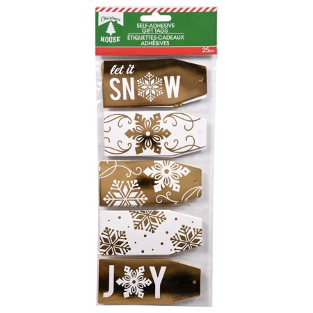 Christmas House Foil Gift Tags with Strings, 25-ct. Pack - White & Natural From nostalgic and classic to whimsical and fanciful, this assortment of foil gift tags has it all! Each pack includes 25 tags, each with attached strings.