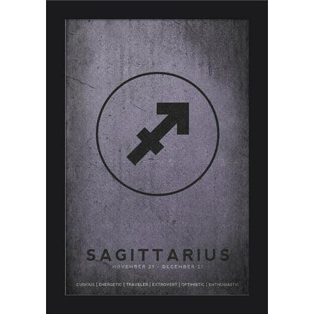 Cancer Zodiac Frame (Sagittarius - Astrological Sign - Zodiac - Lantern Press Artwork (12x18 Giclee Art Print, Gallery Framed, Black)