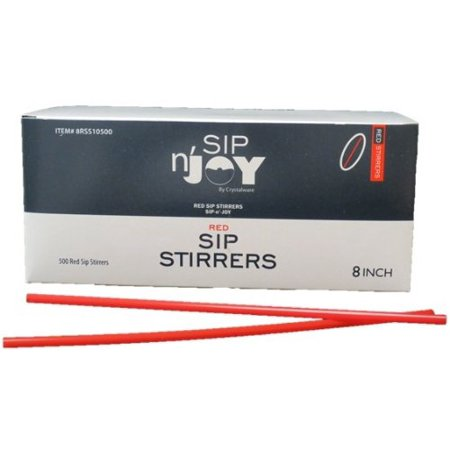 Red Stirrers (Crystalware Plastic Sip Stirrers 8 Inch 500/box, Red )