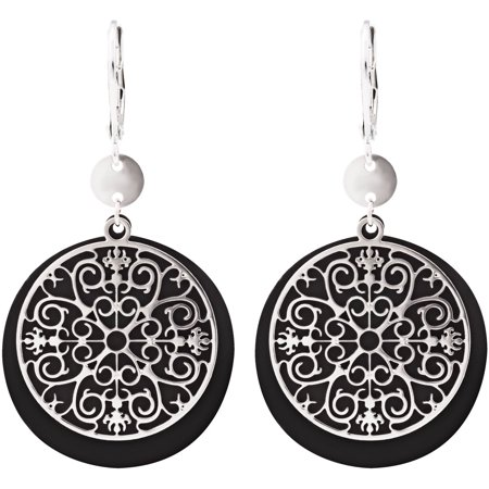 H2Z Filigree Jewelry - Round Intricate Lace Dangle Earrings with Black Backing