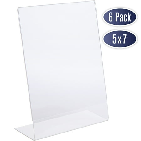 Slant Back Acrylic Sign Holder 5x7 - Clear Picture Frame Stand, 5 x 7 Inches Photo Frames Display for Sign, Menu, Document, Picture, Flyer, and More. Slant Ad Photo Frame Display Holders (6 Pack)
