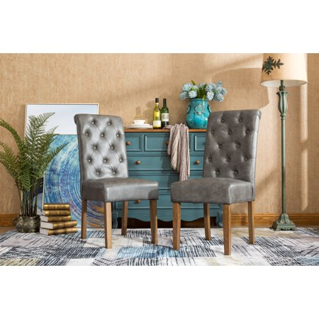 Roundhill Habit Gray Faux Leather Tufted Parsons Dining ...