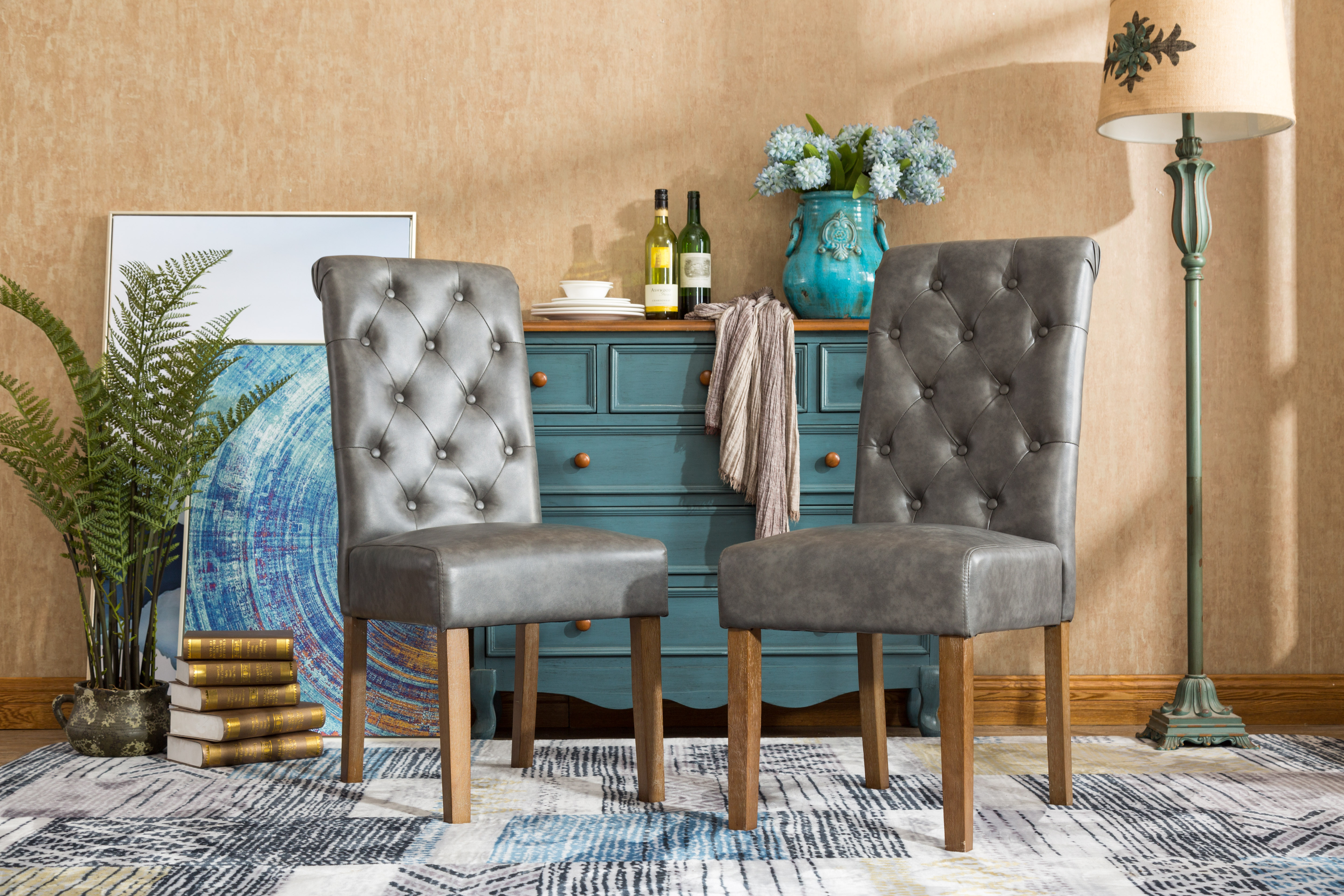 Roundhill Habit Gray Faux Leather Tufted Parsons Dining Chairs with Solid Wood Frame Set of  sc 1 st  Walmart & Tufted Dining Chairs