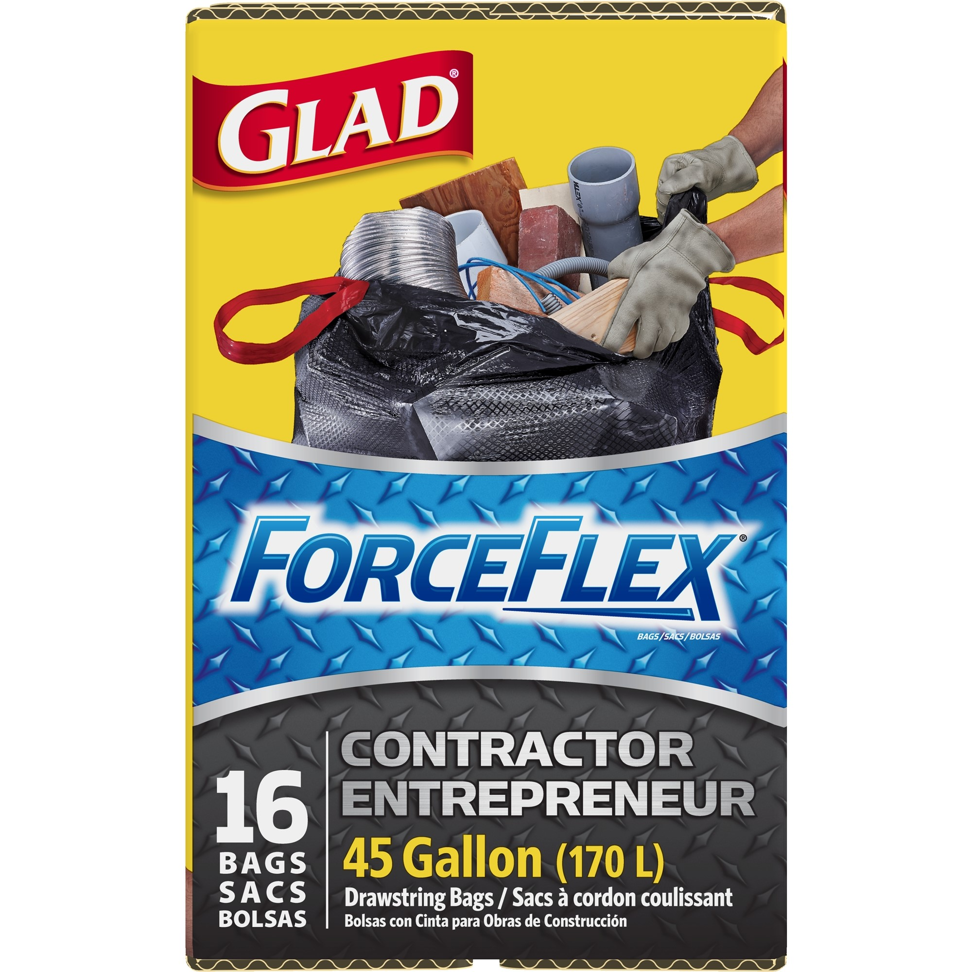 Glad ForceFlex Contractor Drawstring Trash Bags, 45 Gallon, 16 Ct