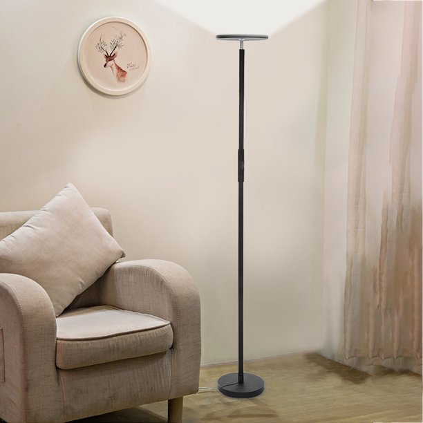 Xisheep Floor Lamp 30w 2800lm Sky Led Modern 2 Color Temperatures Super Bright Floor Lamps Tall Standing Pole Light With Remote Touch Control For Living Room Bed Room Office Black Walmart Com Walmart Com