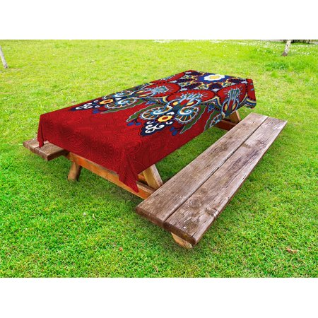 Red Mandala Outdoor Tablecloth, Russian and Ukranian Ethnic Lace Like Flowers Leaves Swirls Vintage Artwork, Decorative Washable Fabric Picnic Table Cloth, 58 X 84 Inches,Multicolor, by Ambesonne