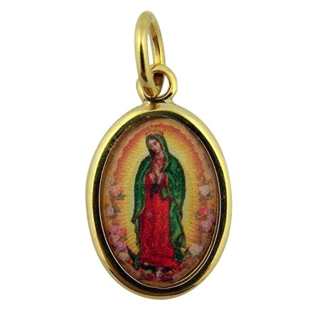 Gold Epoxy (Gold Toned Base with Epoxy Image Our Lady of Guadalupe Icon Medal, 1)