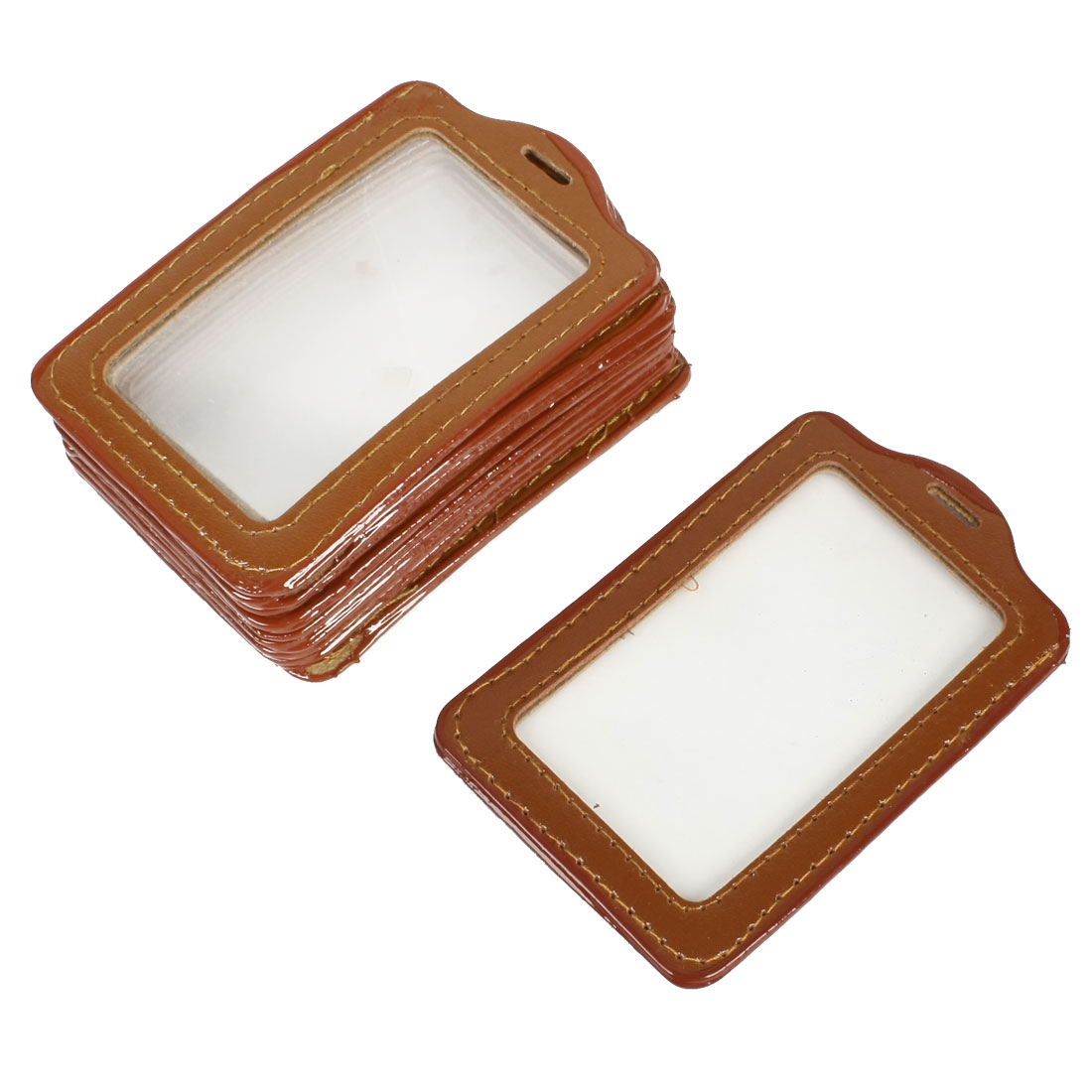 Unique Bargains Unique Bargains 10 Pcs Brown Clear Plastic Vertical Badge Card Holders for Staff