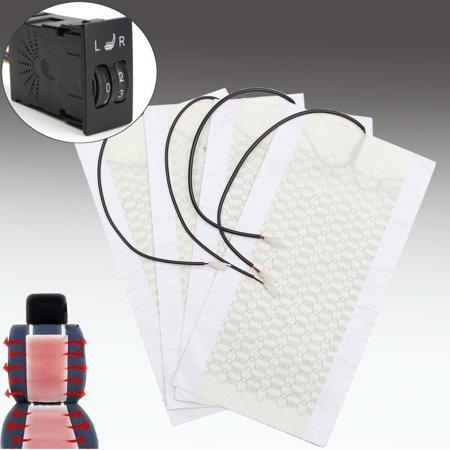 4Pcs 2 Seats Carbon Fiber Car Seat Heater Heated Cushion 5 Level Switch Kits 12V - image 2 of 8