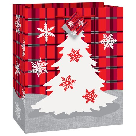 (4 pack) Rustic Plaid Christmas Gift Bag ()