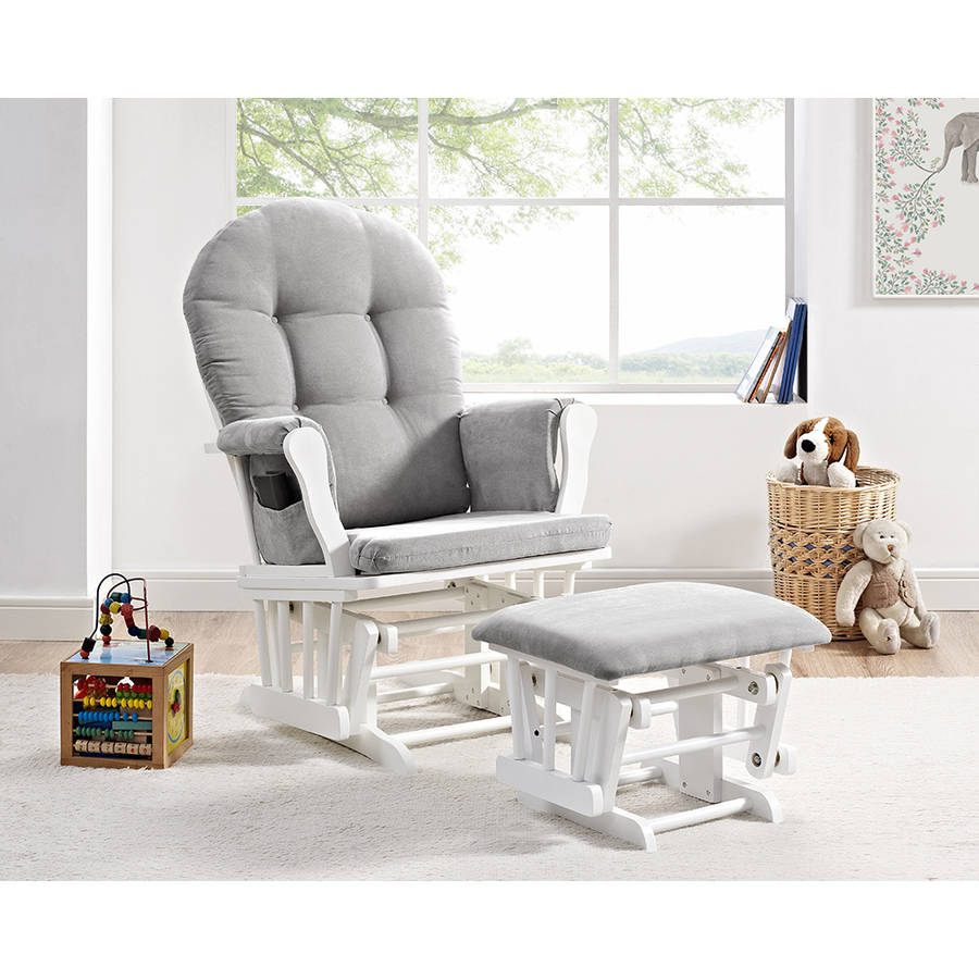 Glider Ottoman Furniture Nursery Chair Baby Rocking Set White with ...