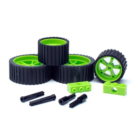 Meeper A220, meeperBOT 2.0 - Wheel Pack - NEON Green, 2 Front Wheels, 2 Rear Wheels, 2 Hubs & Axle Pack, meeperBOT 2.0 Accessory