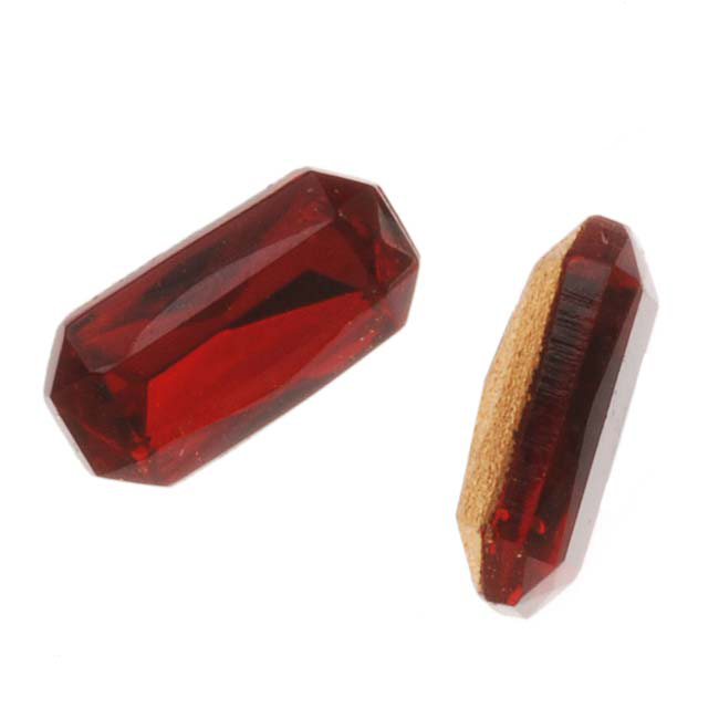 Czech Glass Table Cut - Rectangular Octagon Chatons Foiled Back Ruby 10x5mm (4)
