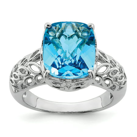 Sterling Silver Rhodium Checker-Cut Blue Topaz Ring Size 7 - image 2 de 2