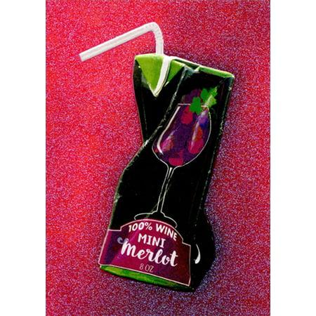 Avanti Press Red Wine Juice Box APress Funny Feminine Birthday Card