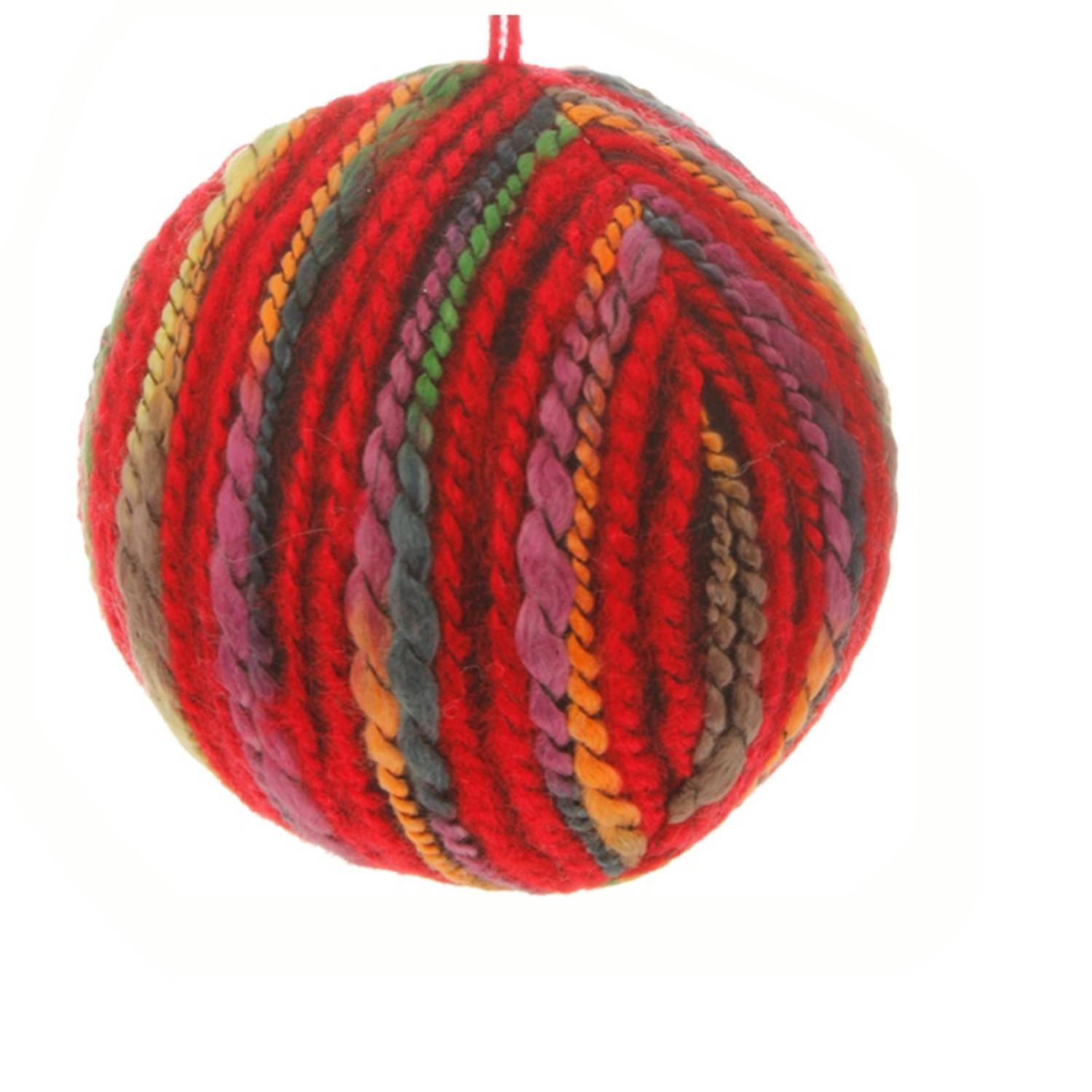 "4"" Bohemian Holiday Colorful Yarn Christmas Ball Ornament"