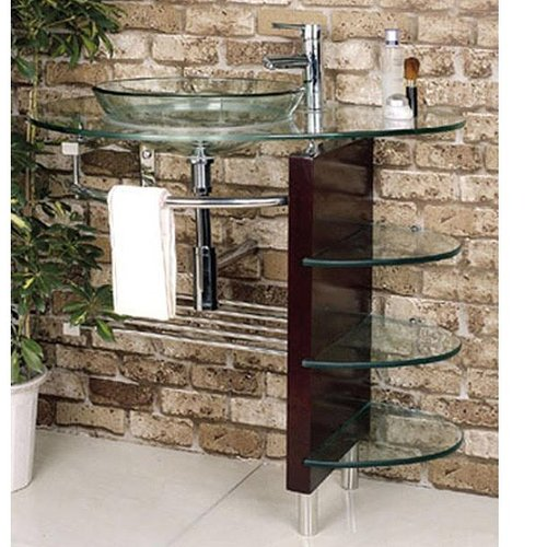 Kokols Glass Circular Vessel Bathroom Sink with Faucet