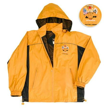 Erazor Bits MM146JKLT-S Army Antique Light Weight Rain Mesh Nylon Liner Resistant Windbreaker Hooded Jacket, Gold & Black - Small
