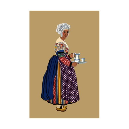St Germain Carafe (Woman from St. Germain, Lembron Serves a Pitcher of Milk for Coffee or Tea Print Wall Art By Elizabeth Whitney)