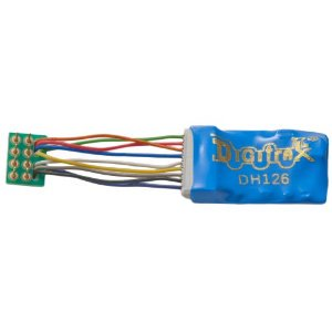 Digitrax HO DCC Decoder DH126PS - 1.5 Amp/2 Peak 2 FX3 Functions Wire Harness to 8 Pin Plug - 1 1/ (Digitrax Dcc Ho Scale Decoder)