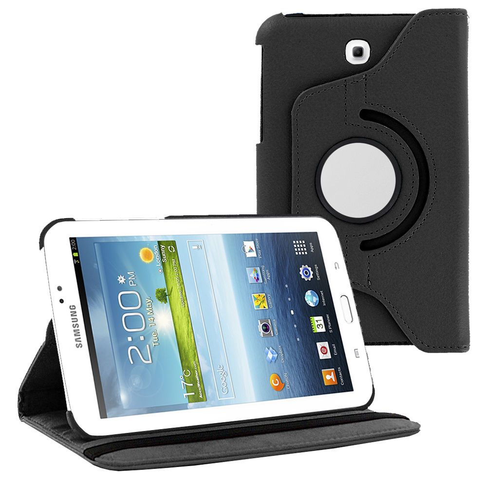 360 Rotating Folding PU Leather Case Tablet Cover by KIQ For Samsung Galaxy Tab A 8.0 SM-T350 (2015)(Black)