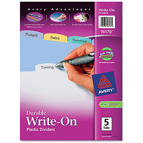 Avery Durable Write-On Plastic Dividers,  5-Tab Set