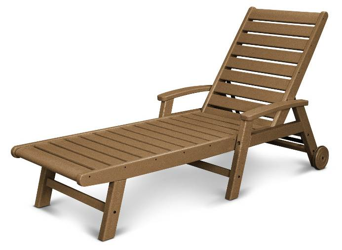Signature Wheel Chaise Lounge in Teak by Chaise Lounges