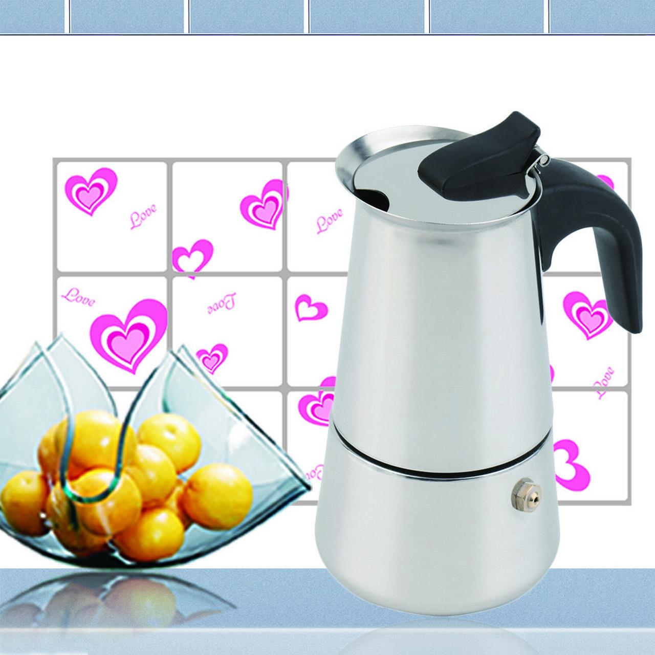 2/4/6-Cup Percolator Stove Top Coffee Maker Moka Espresso Latte Stainless Pot,Silver