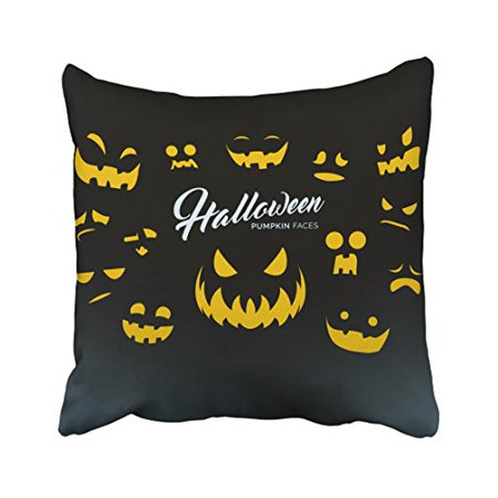 Zipper On Face For Halloween (WinHome Halloween Pumpkin Faces Yellow Light Decorative Pillow Cover With Hidden Zipper Decor Cushion Two Sides 18x18)