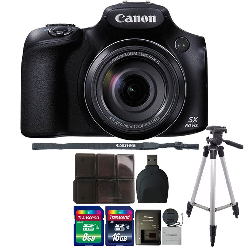 Canon PowerShot SX60 HS 16.1MP 65X Optical Zoom Wifi / NFC Enabled Digital Camera Black All You Need Bundle