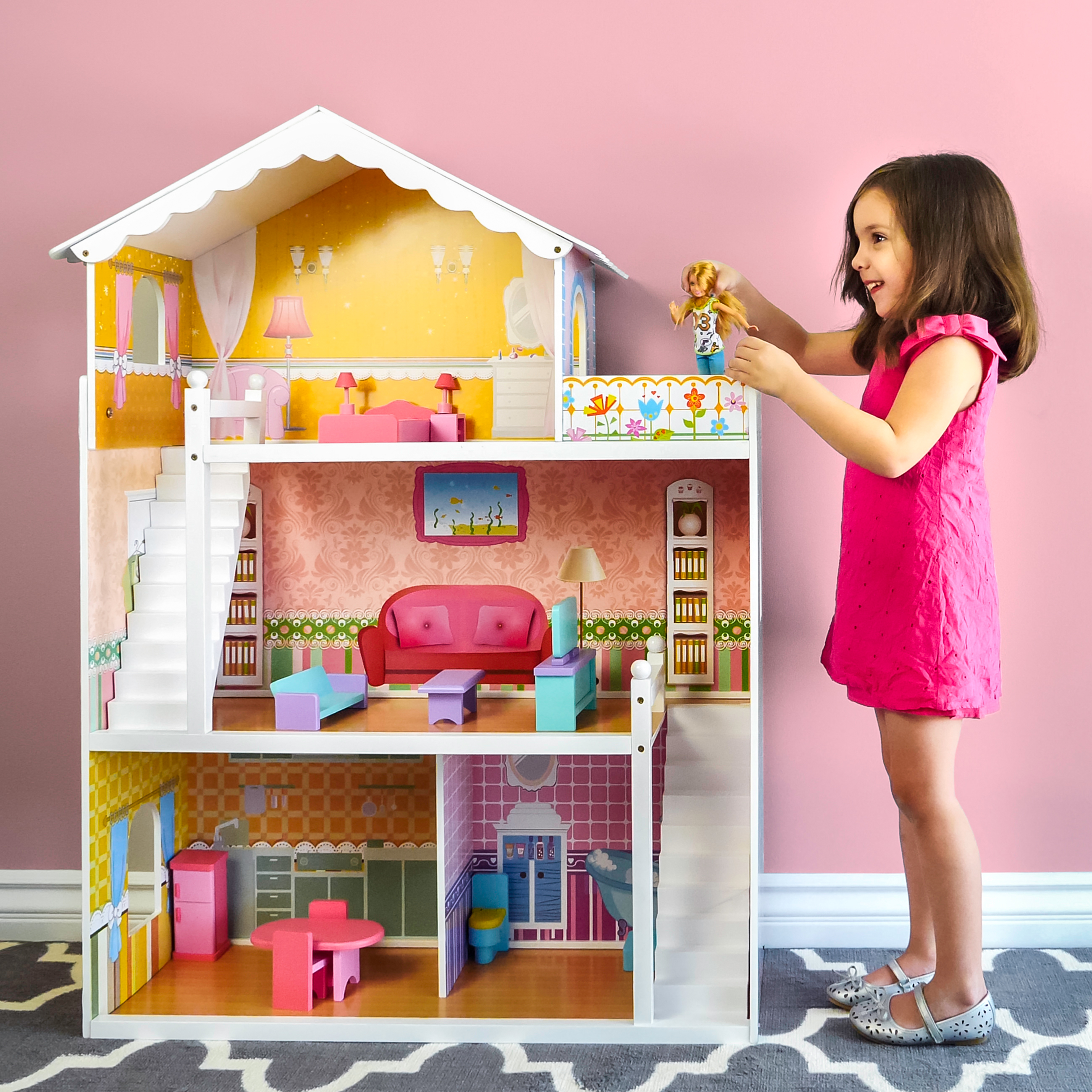 Best Choice Products Large Childrens Wooden Dollhouse Fits Barbie Doll House Pink w  17 Pieces of Furniture by Best Choice Products