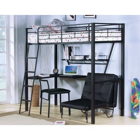 Loft Bed With Desk, Silver & Black - Metal Tube, Mdf W/Pvc Silver & Black