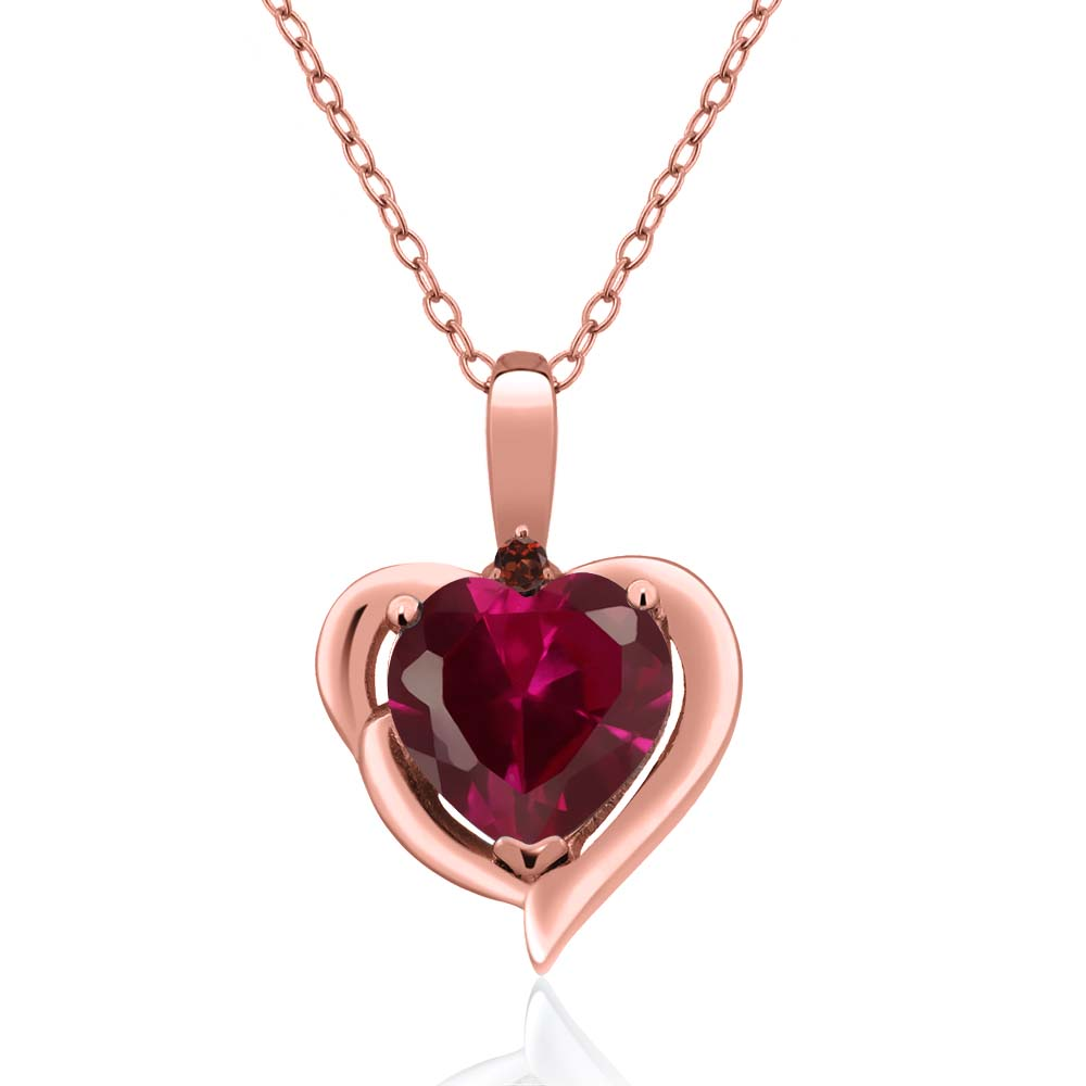 1.72 Ct Heart Shape Red Created Ruby Red Garnet 18K Rose Gold Pendant