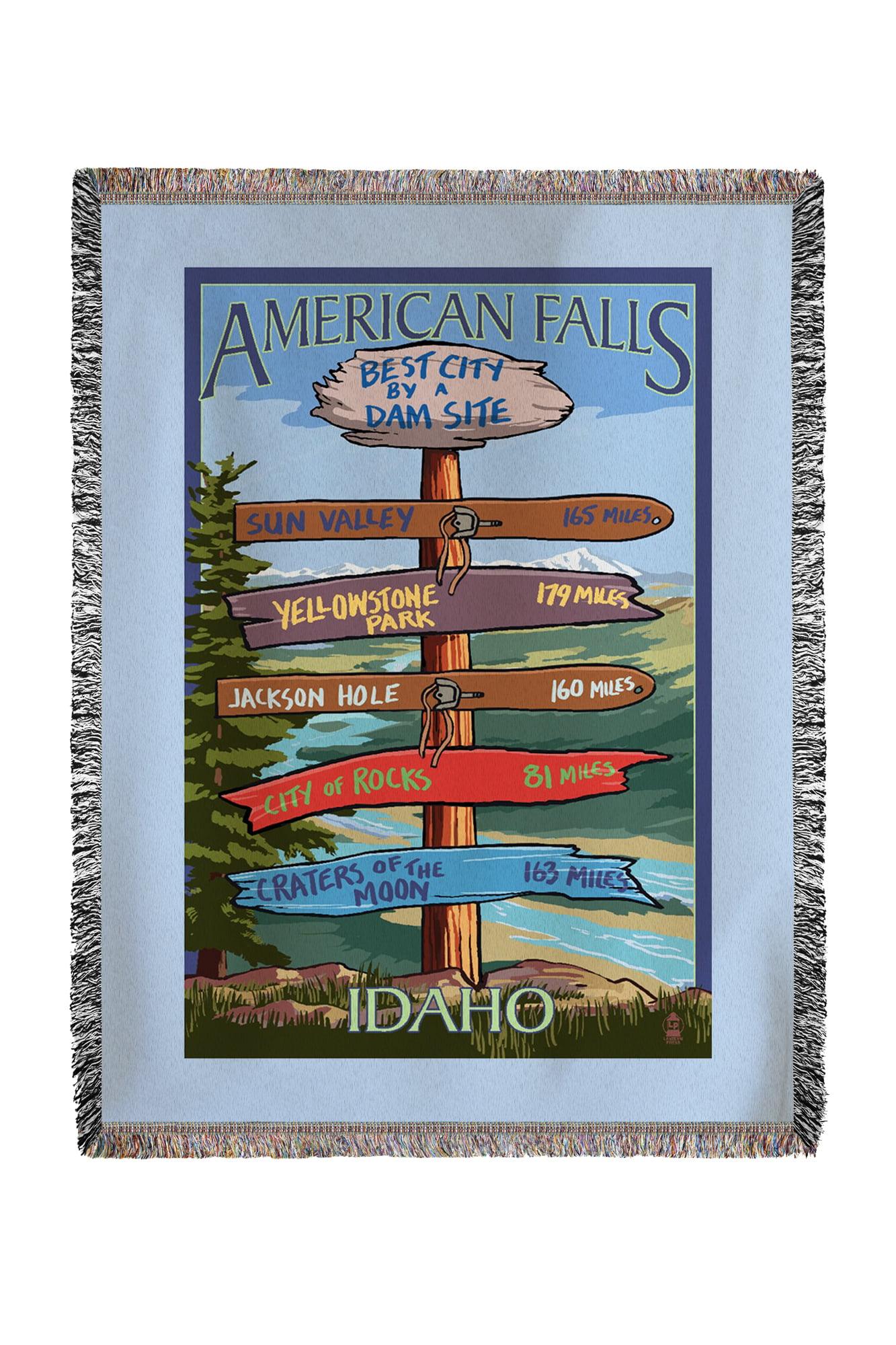 American Falls, Idaho Sign Post Lantern Press Artwork (60x80 Woven Chenille Yarn Blanket) by Lantern Press