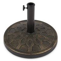 Best Choice Products Round Heavy Duty Rustic 18-inch Steel Patio Umbrella Base Stand w/ Rust-Resistant Finish, Bronze