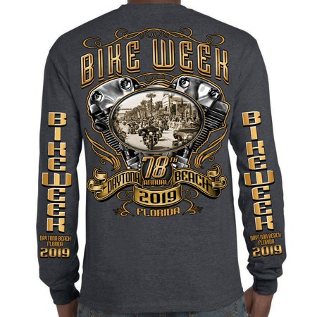 Biker Life 2019 Bike Week Daytona Beach Main Street Engine Long Sleeve (Street Fights Knockouts Best 2019)