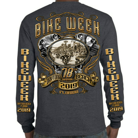 Biker Life 2019 Bike Week Daytona Beach Main Street Engine Long Sleeve - Main Street Collection Monogram