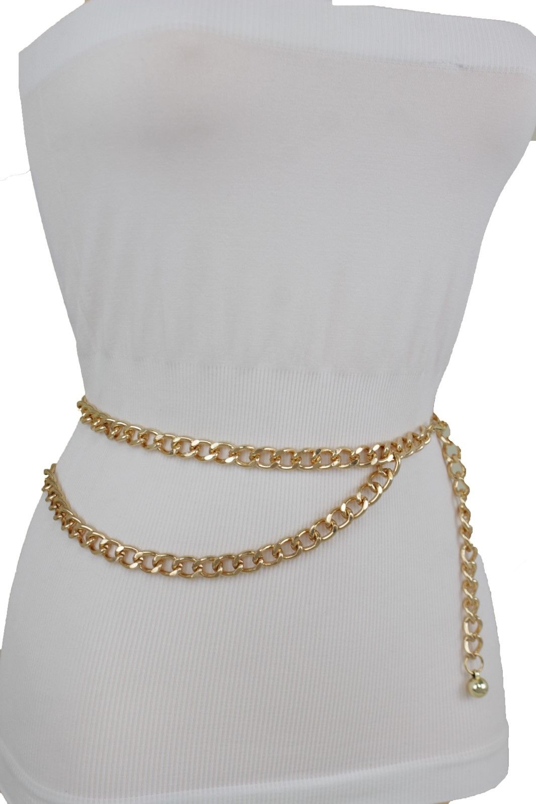 Women Fashion Belt Hip High Waist Gold Metal Long Sun Smile Charm Buckle XS S M