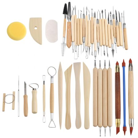 Lv. life 42Pcs Ceramic Pottery Crafts Tools Set Clay Sculpting Carving Modeling Combination Tool Kit, Pottery Carving, Pottery Tool (Wire Sculpting Tools)