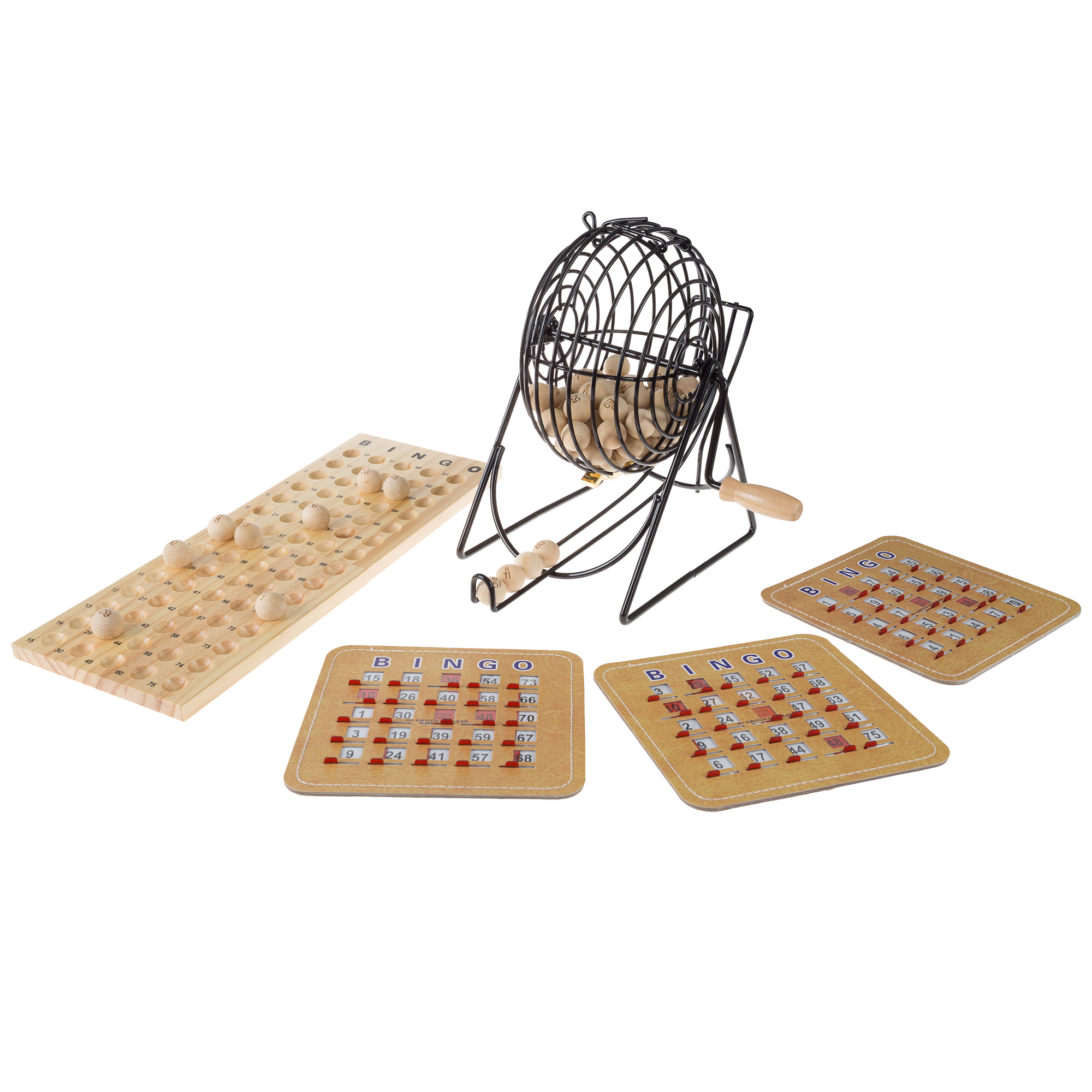 Deluxe Bingo Game with Accessories, Metal Ball Spinner, Wooden Bingo Balls & Board & Shutter Bingo Cards by Hey! Play!
