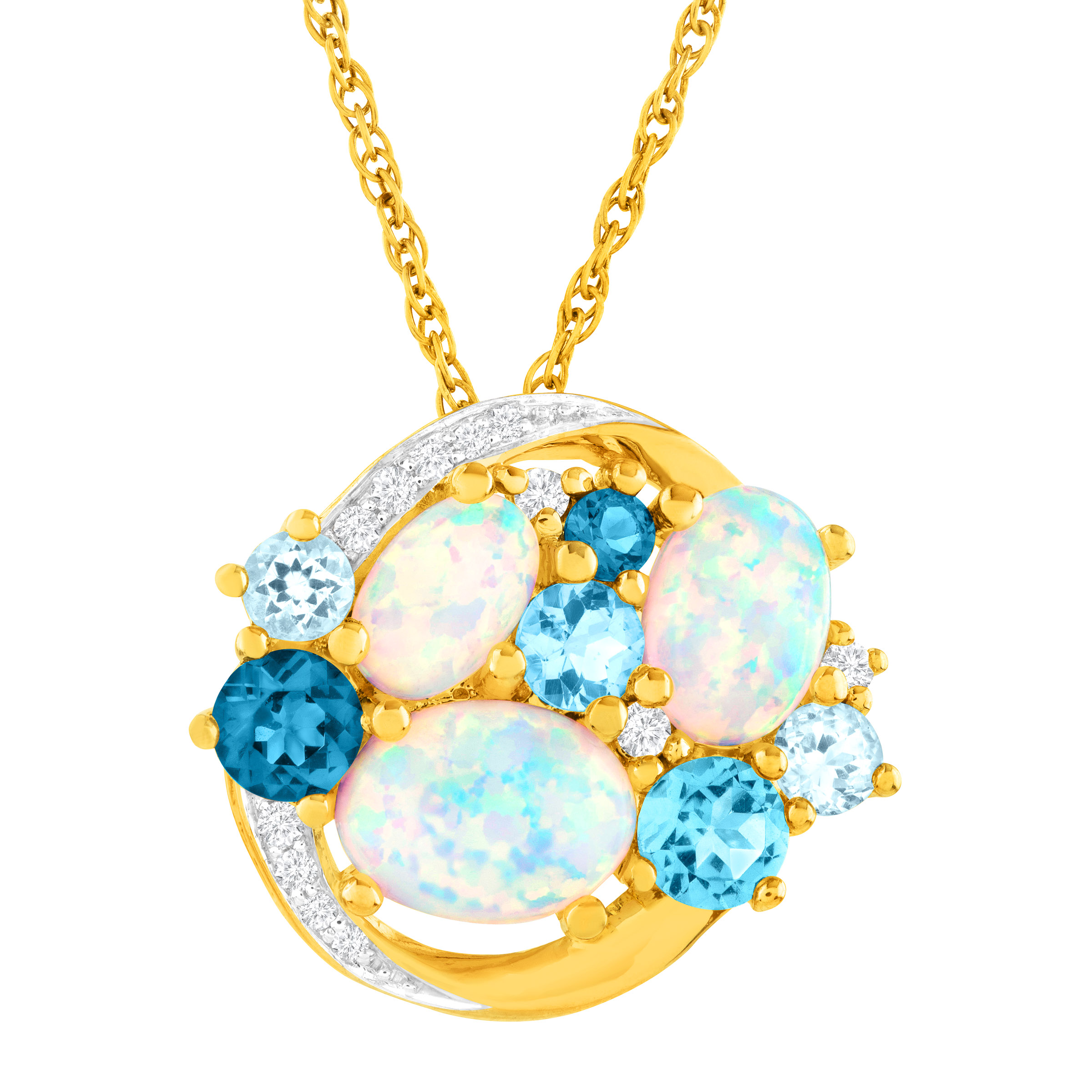 2 3 8 ct Created Opal, White Sapphire & Natural Blue Topaz Pendant Necklace in 14kt Gold-Plated Sterling Silver by Richline Group