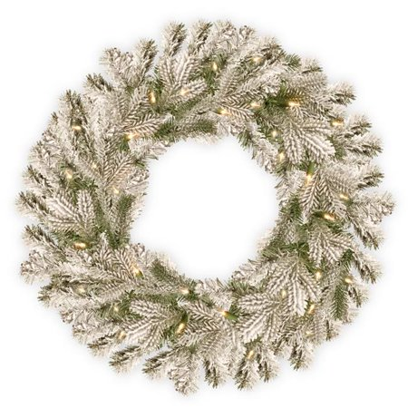 National Tree PESL3-300-30W-B 30 in. Feel Real Snowy Sheffield Spruce Wreath with 100 Warm White Battery Operated Operated LED Lights with Timer - image 1 of 1