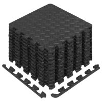 Yes4All Interlocking Exercise Foam Mats with Border, 12 Sq Ft, Black