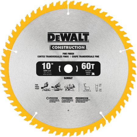 "DeWalt Construction Saw Blade 10"", 1.0 CT"